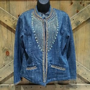 CHICOS ] BEADED JEAN DENIM BLAZER